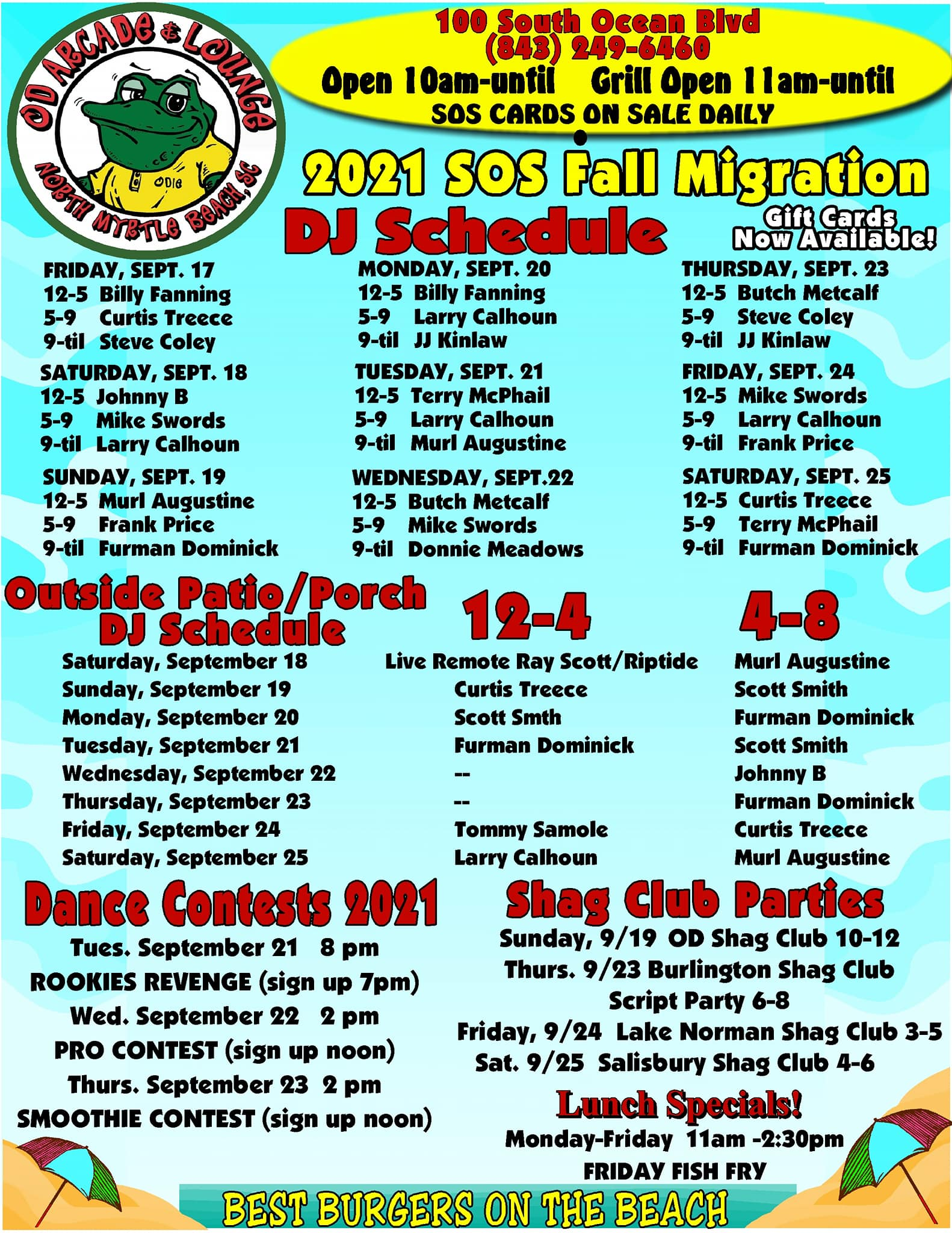 2021 SOS Fall Migration schedule
